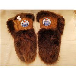 "423.  Moose hide and beaver gauntlets, beaded logo, Edmonton Oilers, lined, 16"" long"