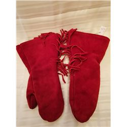 """424.  Red leather fringed gauntlets, lined, 15"""""""