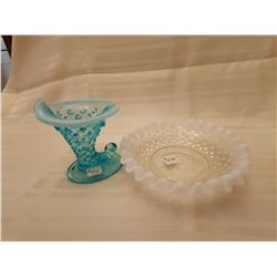 """430.  Fenton opalescent candy dish and blue """"Hobnail"""" shoe"""
