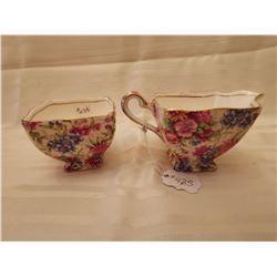 "435.  Chintz cream and sugar, ""Mayfair"" pattern, Royal Winton, England"
