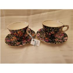 """437.  Chintz cups and saucers, """"Nantwich"""" pattern, Royal Winton, England"""