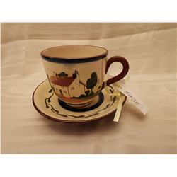 438.  Torquay cup and saucer, Watcombe, England