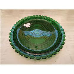 "439.  Green depression glass platter, 13½"","" Windsor"" pattern, Jeanette Glass"
