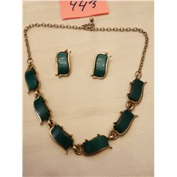 443.  Teal blue thermaset necklace and earrings, 1950's