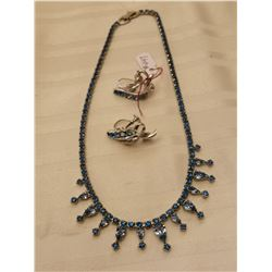 447.  Blue rhinestone necklace with screw back earrings