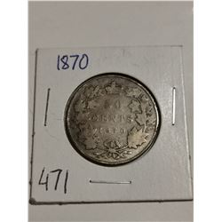 1870 Silver 50 cent coin Canada
