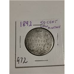 1892 Silver 50 cent coin Canada