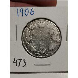 1906 Silver 50 cent coin Canada