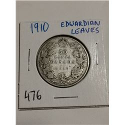 1910 Edwardian leaves silver 50 cent coin
