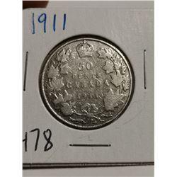 1911 Silver 50 cent coin Canada