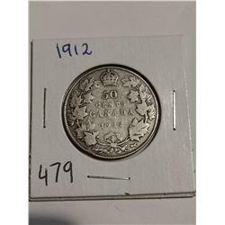 1912 Silver 50 cent coin Canada