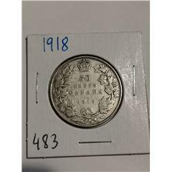 1918 Silver 50 cent coin Canada
