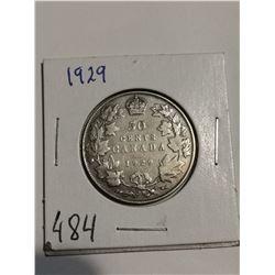 1929 Silver 50 cent coin Canada