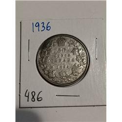 1936 Silver 50 cent coin Canada