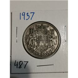 1937 Silver 50 cent coin Canada