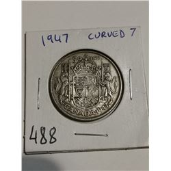 1947 Curved 7 silver 50 cent coin Canada