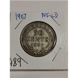 1907 Newfoundland Silver 50 cent coin Canada
