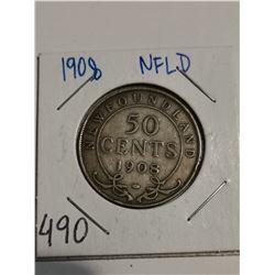 1908 Newfoundland silver 50 cent coin