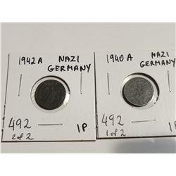 1940 & 1942 Nazi Germany 1 Pfennig coins