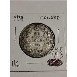 1934 silver 50 cent coin Canada