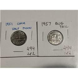 1957 Bug Tail & 1951 half moon 5¢ coins