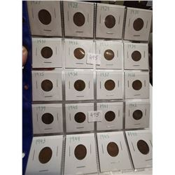 1927-1946 1 cent coins Canada great condition
