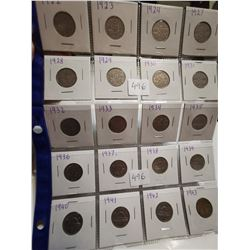 20 different 5¢ coins Canada 1922-1943