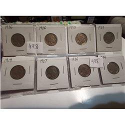 8 U.S. 5¢ Buffalo nickels