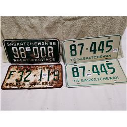 4Sask license plates, 2 X 1974 matching, 1955, 1956