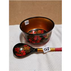 Wooden Russian bowl with spoon