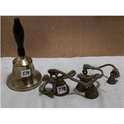 Brass school bell & other bells