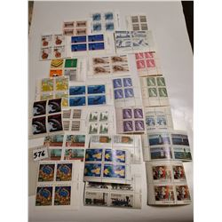 Lot of unc stamps, 25 blocks of 4