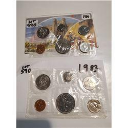 1983 & 1984 unc Canada coin sets