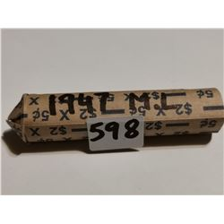 full roll of 1947 Maple Lead 5¢ coins