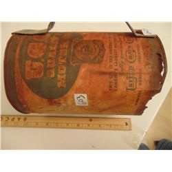 603 RARE EARLY 1900'S UGG GALLON OIL TIN ( SURVIVES AS MADE INTO OIL POURER)