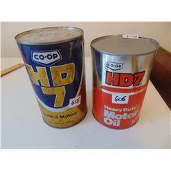 606  TWO VINTAGE FULL HD 7 OIL TINS, QUART & LITER SIZE