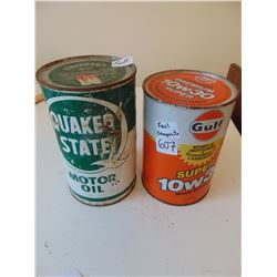 607 QUAKER STATE FULL OUTBOARD MOTOR OIL TIN & 1 LITER GULF 10/30 FULL CONTAINER