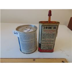 609 VINTAGE MCCULOUGH OUTBOARD OIL TIN FULL & 3 IN 1 OILER TIN