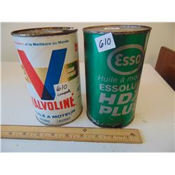 610 VINTAGE VALVOLINE & ESSO FULL OIL TINS