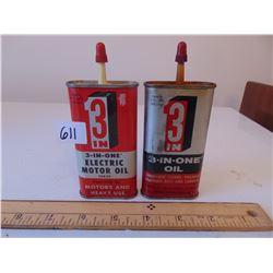 611 VINTAGE 3 IN 1 MOTOR OIL / LUBRICANT TINS