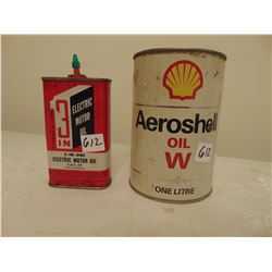 612    VINTAGE 3 IN 1 MOTOR OIL LARGER TINS & SHELL WINTER OIL TIN NO LID