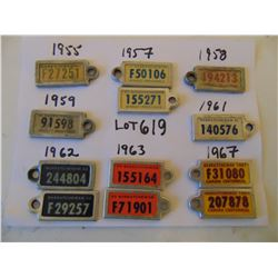619 12 VINTAGE WAR AMP KEY TAGS FARM AND TRUCK BETWEEN 1955 & 1967