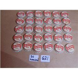 621 30 UNUSED ANNIVERSARY RED RIBBON BEER CORK LINED BOTTLE CAPS
