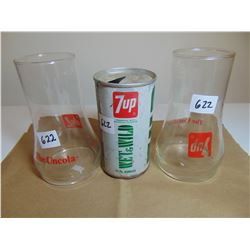 622 7 UP COLLECTIBLE UNCOLA GLASSES& VINTAGE POP CAN