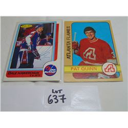 637 AUTOGRAPHED FRONT BACK DALE HAWERCHUK, & PAT QUINN HOCKEY CARDS