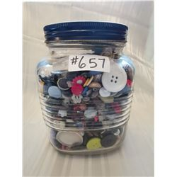One gallon Nabob coffee jar with vintage buttons