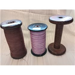 Large wooden factory sewing spools (3)
