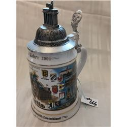 Beer stein, celebration of Berlin as capital of Germany, 1991-2001, with certificate