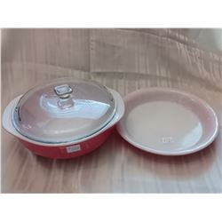 Pyrex Sunset Rose casserole with lid and pie plate