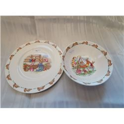 Bunnykins plate and cereal bowl, Royal Doulton